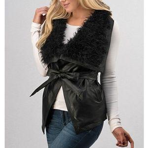 Black Faux Leather Sherpa Fur Belted Vest Jacket